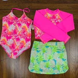 RLX skort + OP swimsuit with rash guard (3 pieces)